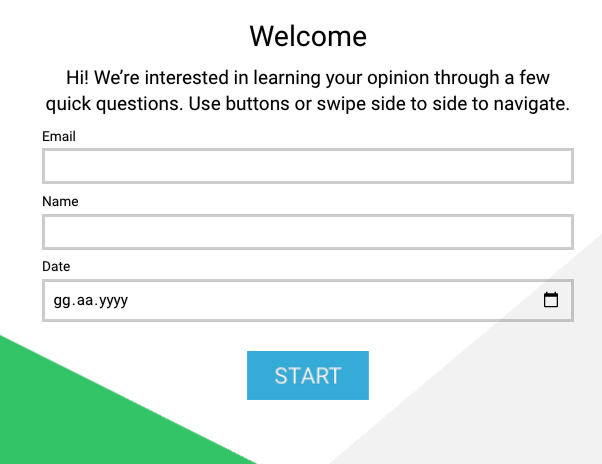 Intro screen -  example of intro screen in questionnaire