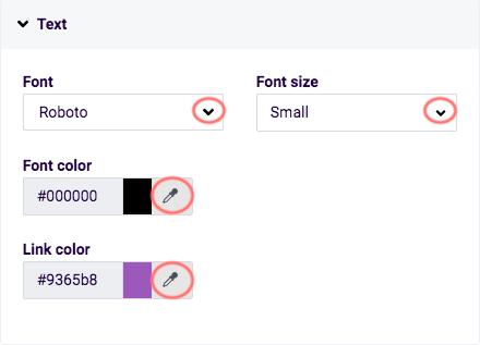 Edit design - text options