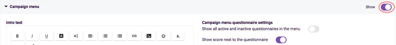 create campaign - hide campaign menu