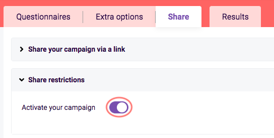 Activate campaign - share tab - questionnaire scheduler