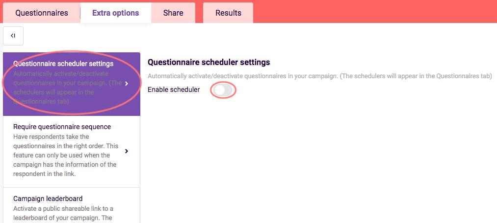 Turn on questionnaire scheduler