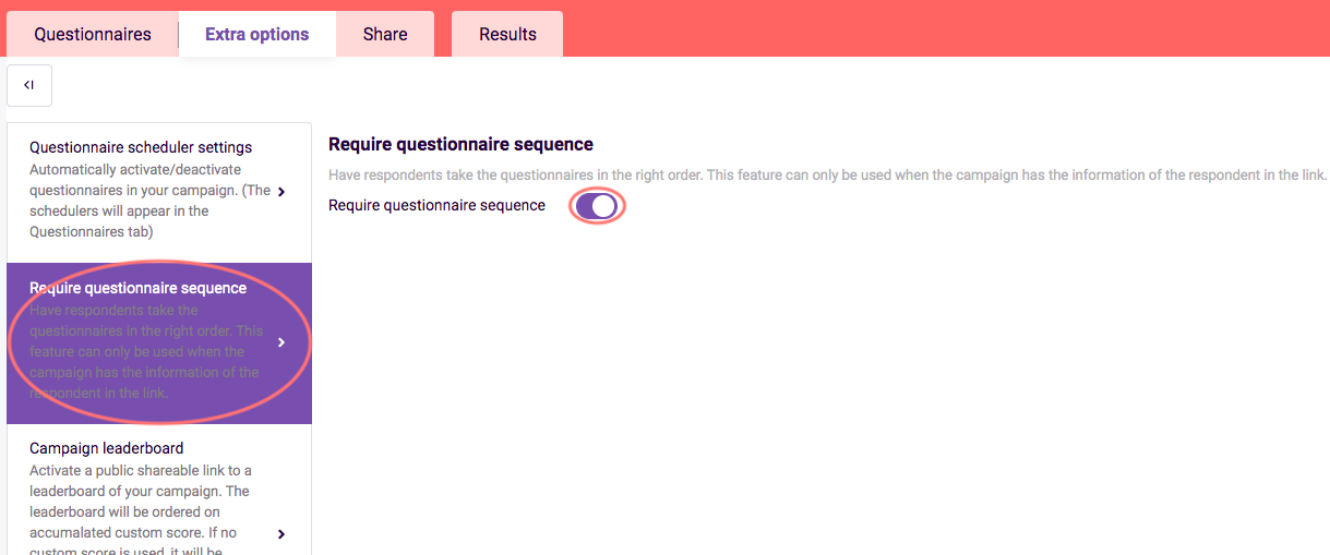 activate questionnaire sequence