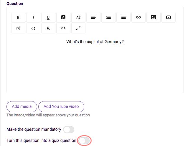 Quick start quiz - type question text
