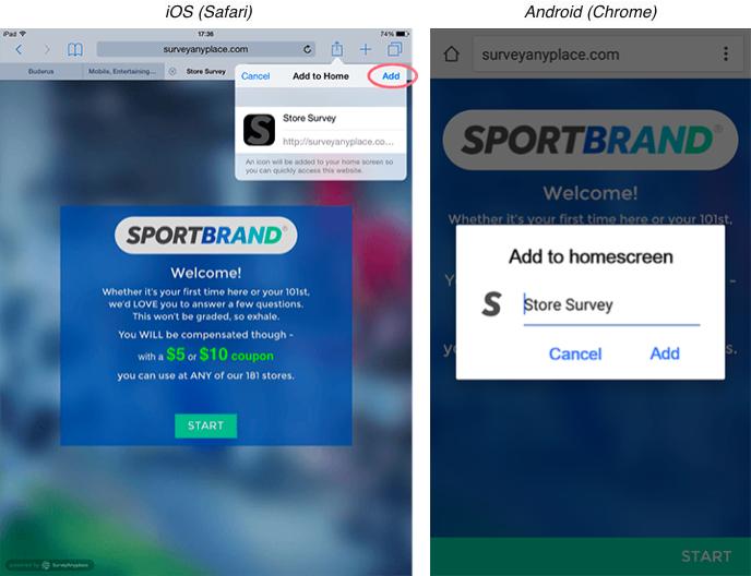 iOS safari and Android chrome example main screen