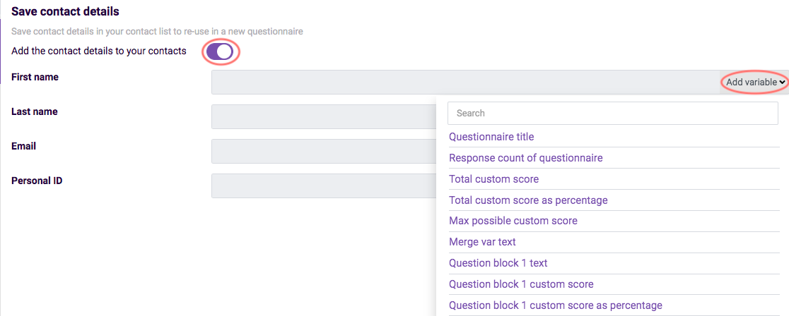 assessment features - save respondent details settings
