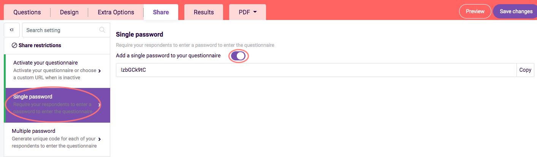 assessment features - add password