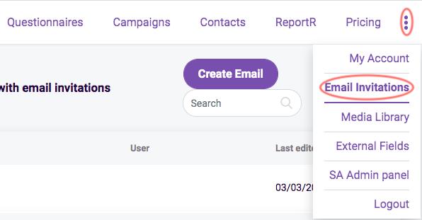 email invitation tab