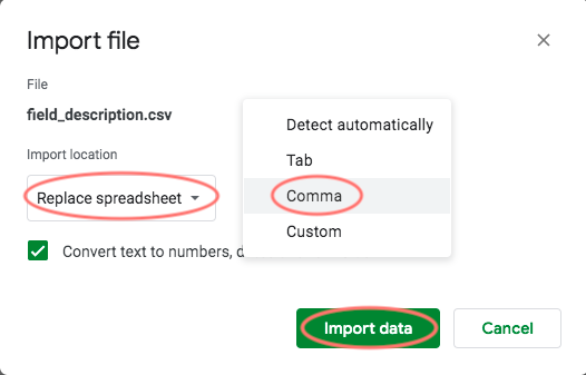 choose csv file to sheets