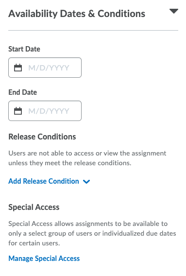 Availability dates & conditions panel expanded