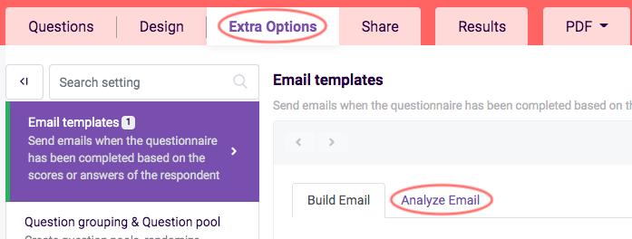 Analyze email tab