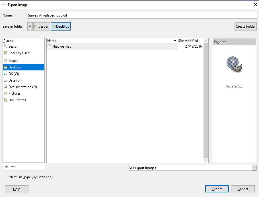 GIMP Export Image menu
