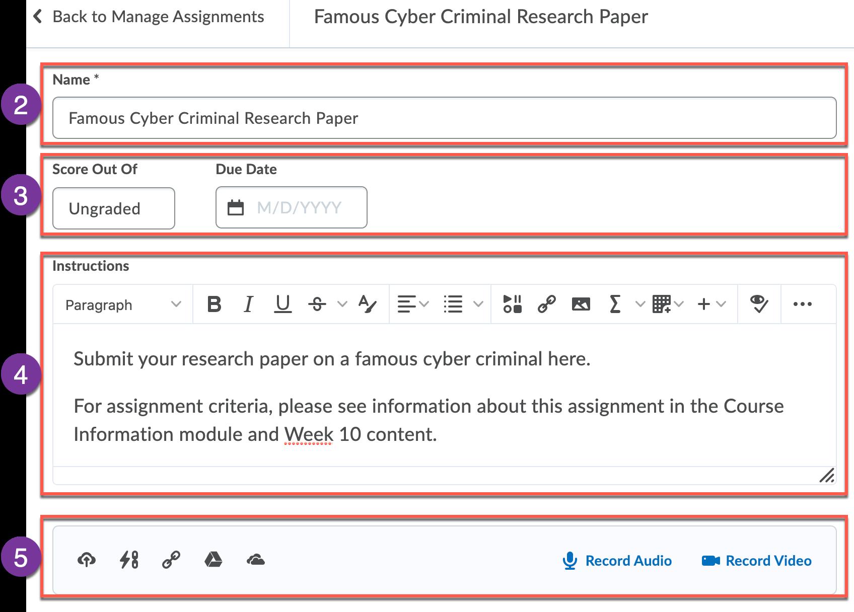 Create/edit assignment interface main panel