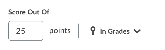 Score out of input with 25 points entered