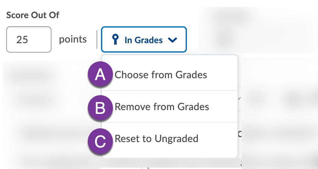 Grade dropdown options
