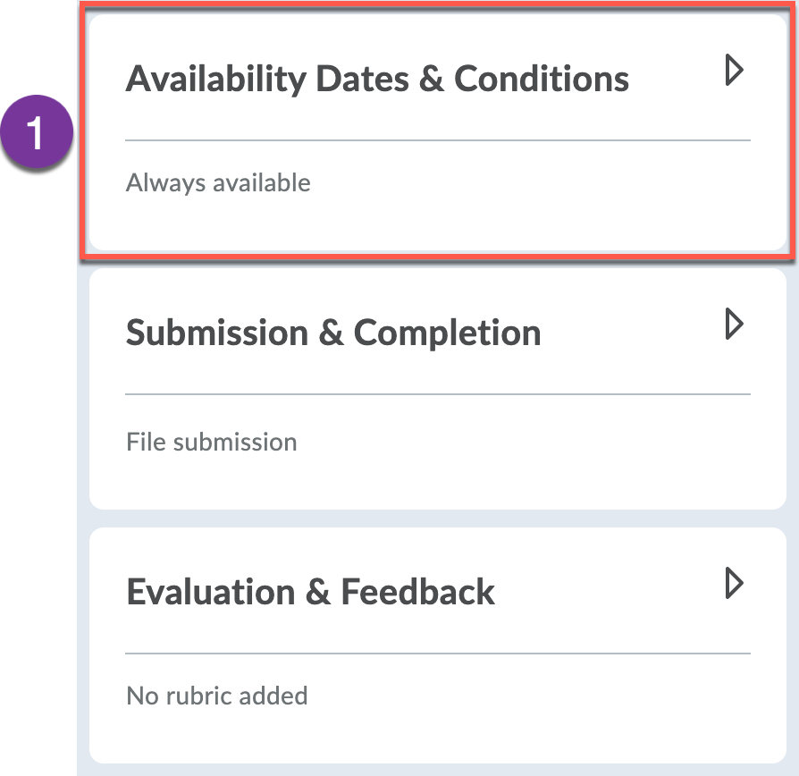 Availability Dates & Conditions panel