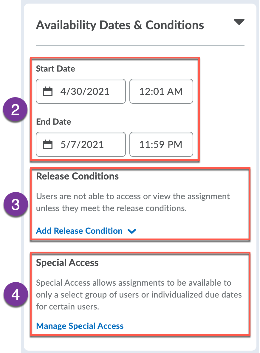 Availability Dates & Conditions panel expanded with available settings
