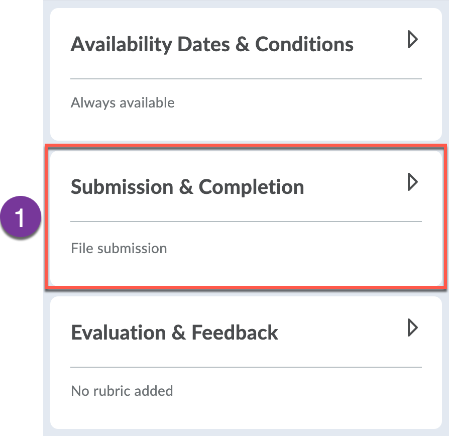 Submission & Completion panel