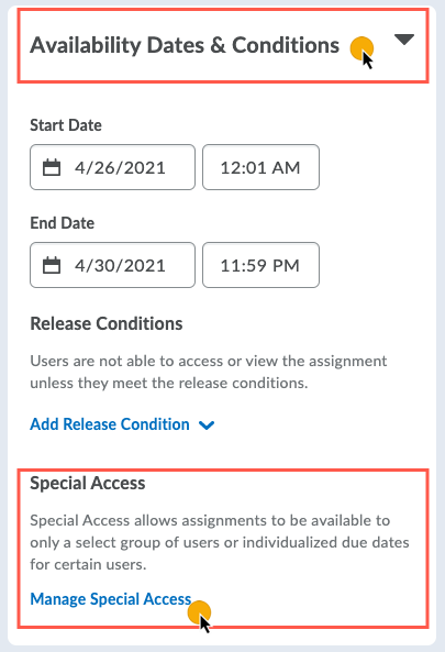 Manage Special Access option under the Availability Dates & Conditions panel