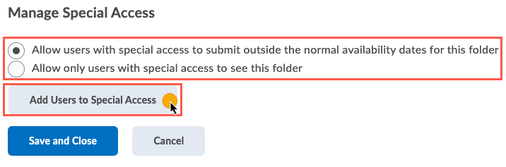 Allow users option screen