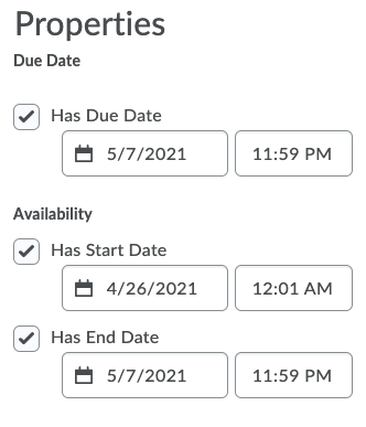 Adjusting special access due, start, and end dates