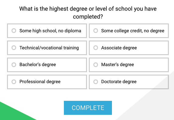 education level question type example
