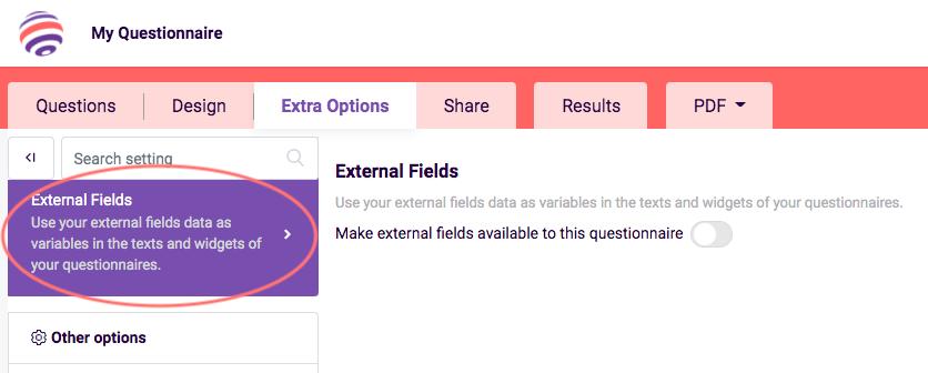 external fields in survey
