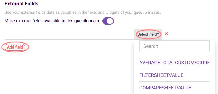 external fields in survey - select field