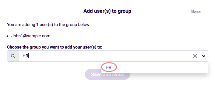 Team Management- choose the group for users