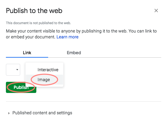 google sheets chart example - publish to the web image