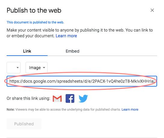 publish to the web copy paste link