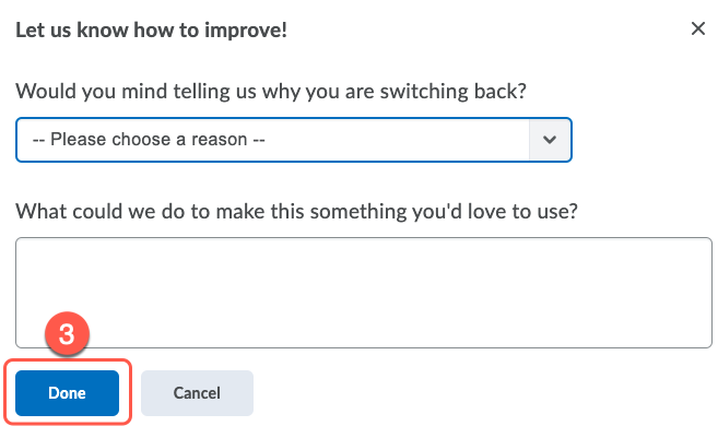 Confirmation screen to turn off the new evaluation experience.