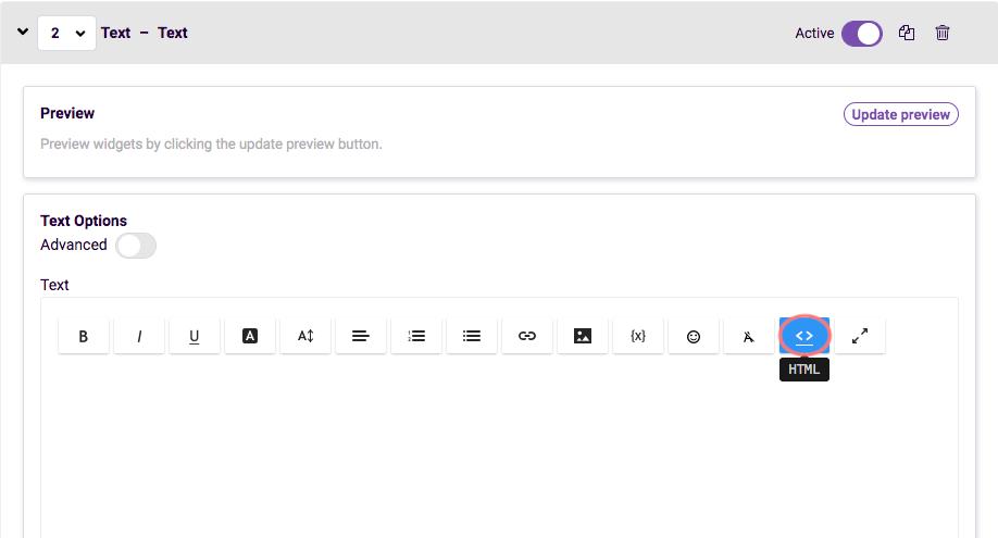 add text widget html