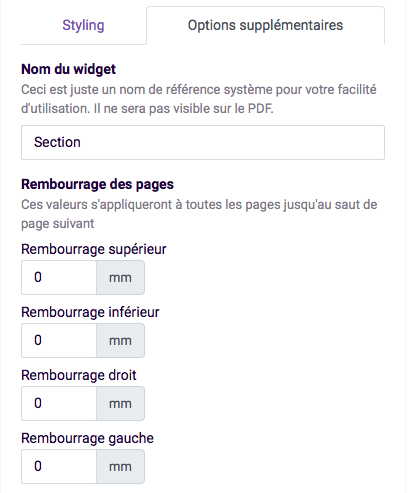 options supplementaires - rembourrage des pages