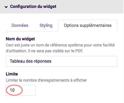 options supplementaires du widget