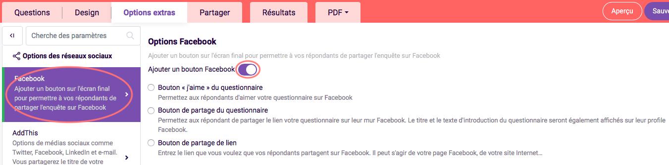 facebook options des responses sociaux