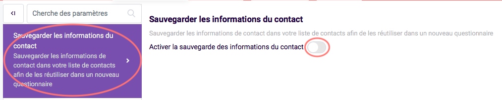 sauvegarder les informations du contact
