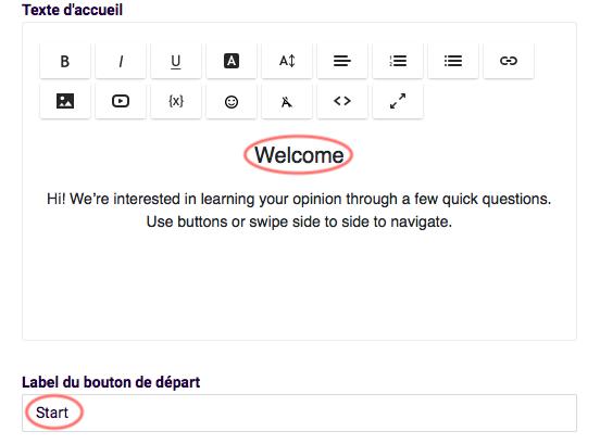 Ecran d'accueil - changez le text d'accueil et label du bouton