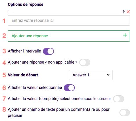 Curseur de texte - options de réponse