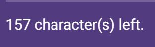 Open question number of characters remaining