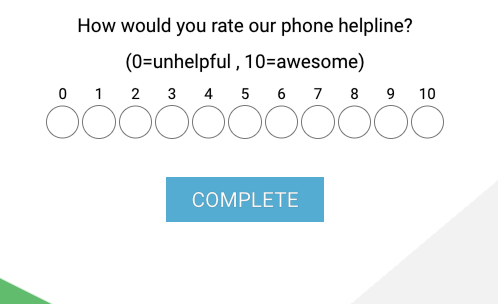 radio button rating question example