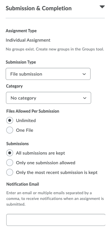 Submission & completion panel expanded