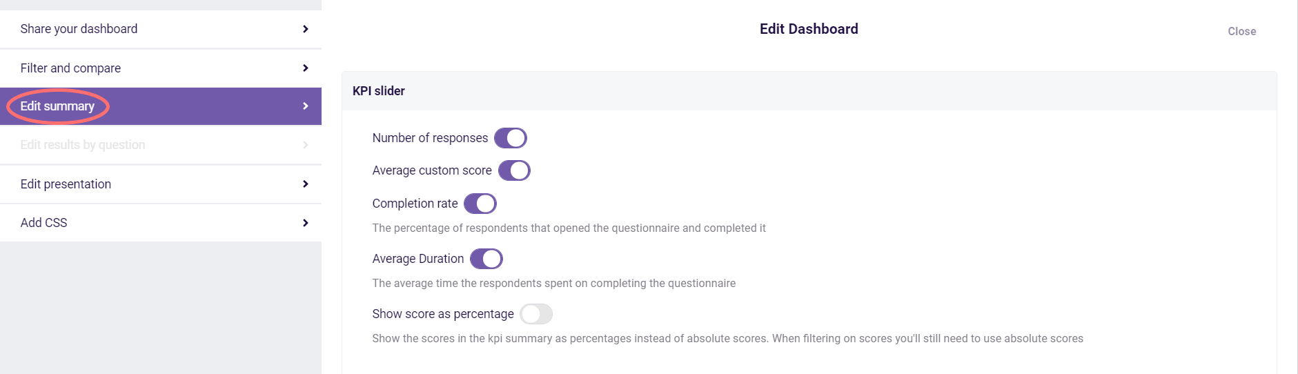 insights view- edit dashboard