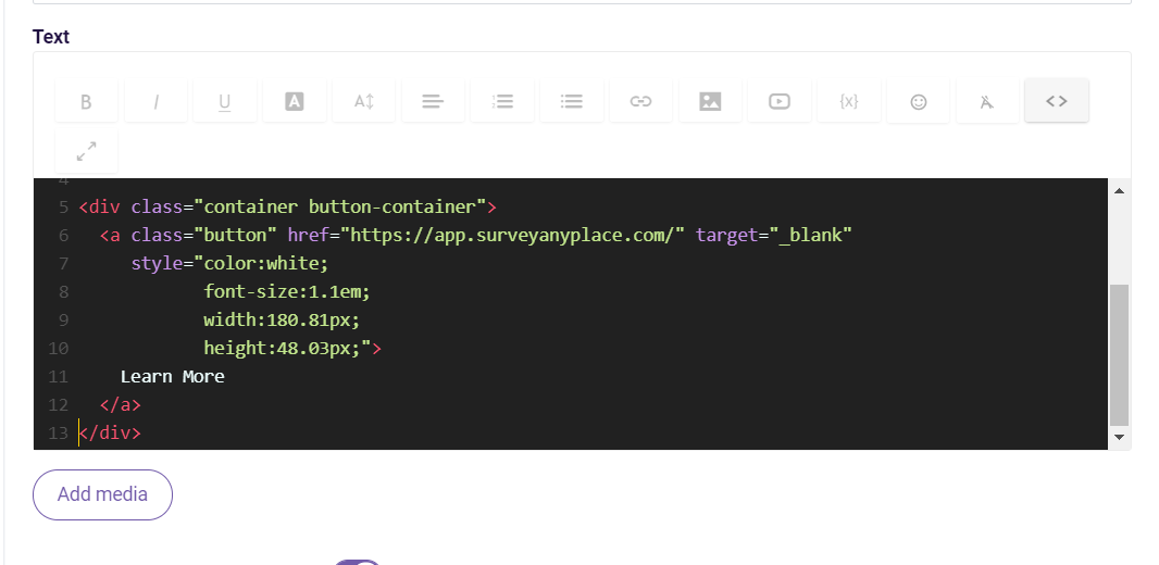 create custom button- html window