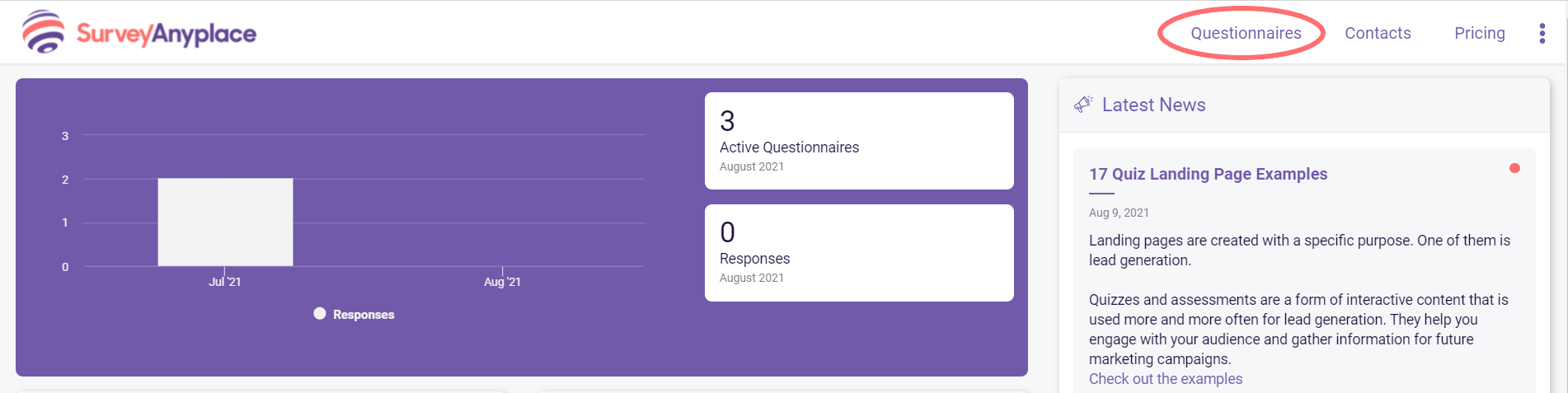 how to copy your questionnaire- dashboard