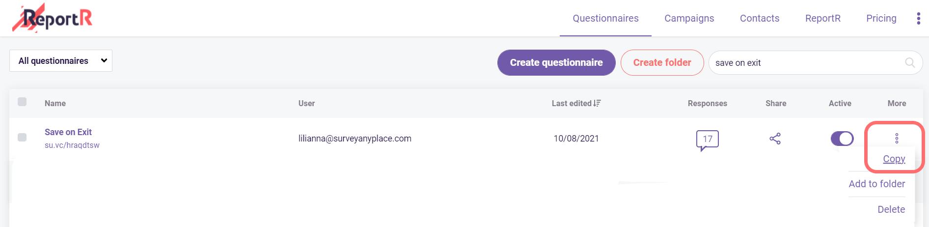 how to copy your questionnaire- copy questionnaire