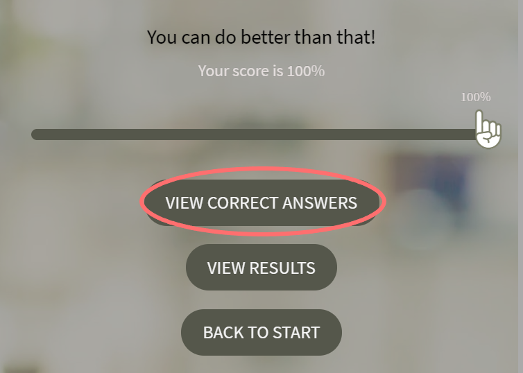 Overview of quiz features-view correct answers
