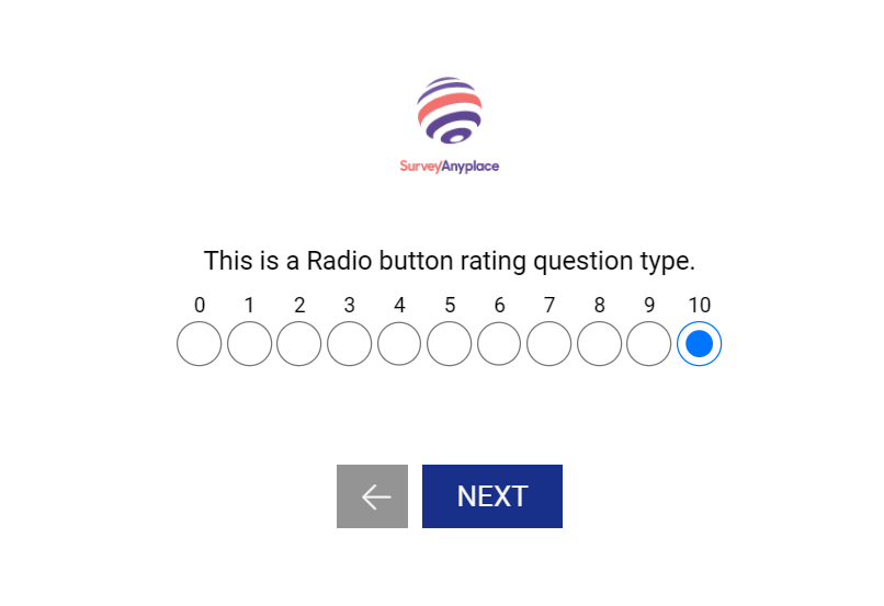 Question types that support custom scoring-radio button rating
