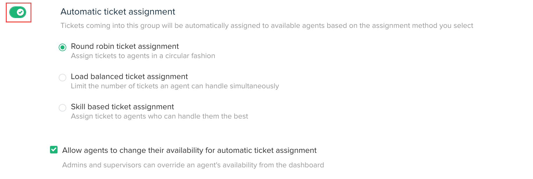 Setting up automatic ticket assignment through Round-robin