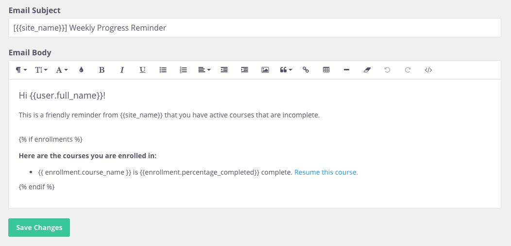 Weekly Reminder Emails : Thinkific