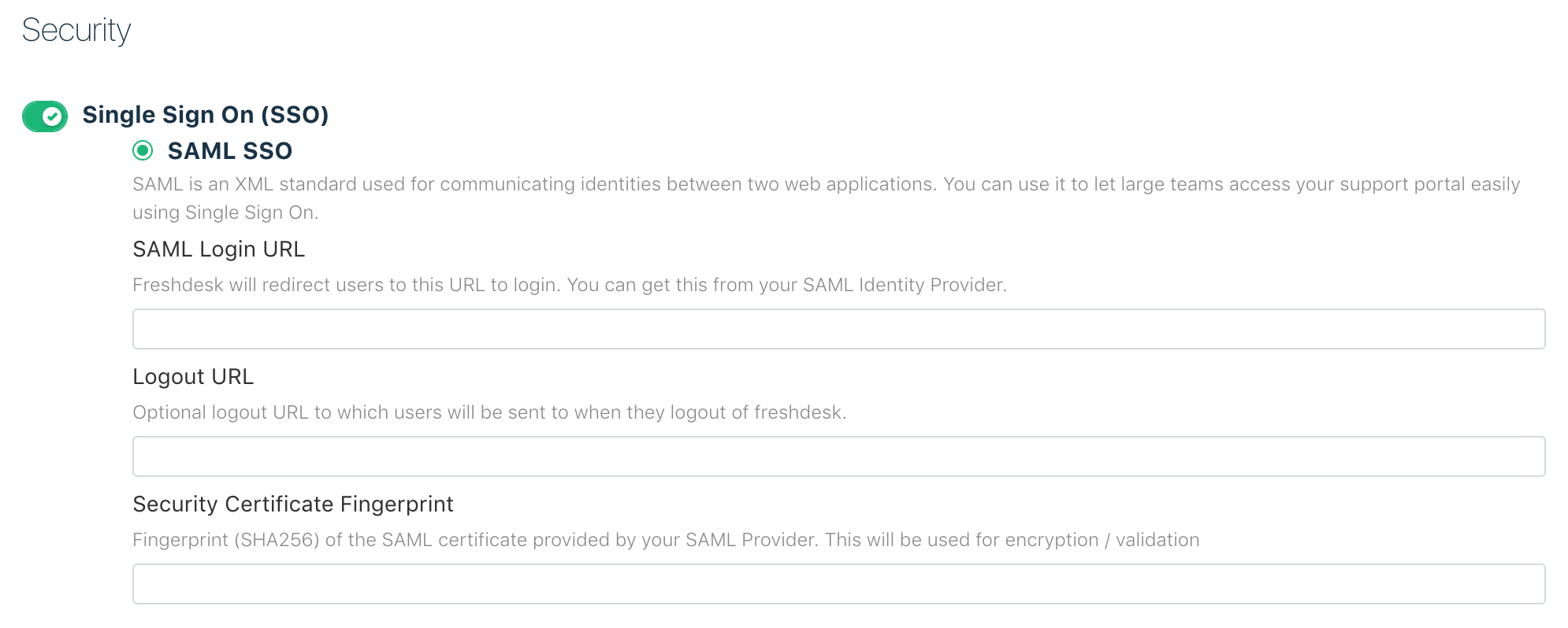 Single Sign On using SAML : Freshdesk
